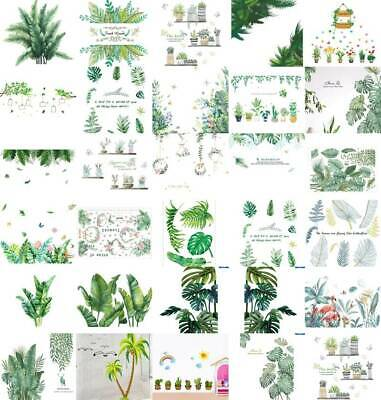 Tropical Leaves Green Plant Wall Stickers PVC Decal Nursery Art Mural Home H #f • 3.79£