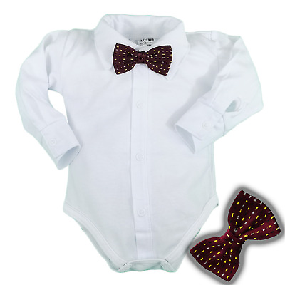 £9.25 • Buy Baby Boys Bodysuit Shirt RED BOW Outfit Special Occasion Christening Christmas