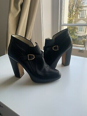 Rupert Sanderson 40 Ankle Leather Boots Stunning Gold Buckle Uk 7 • 19.50£
