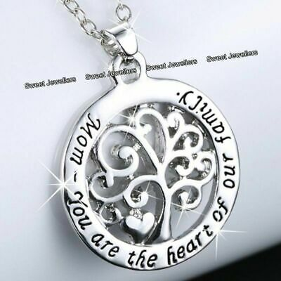 Mum Heart Necklace Silver Jewellery Gifts For Her Mother Mom Daughter Women • 5.95£
