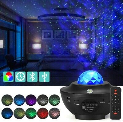 Romantic Galaxy Ocean Wave Starry Projector Lamp Music Player Remote Control • 13.99£