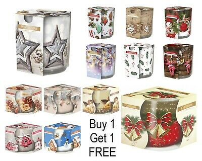 CHRISTMAS Scented Candles In Glass 20hr Burning Time BUY 1 GET 1 FREE • 6.49£