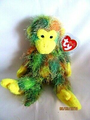 £9.99 • Buy Ty Beanie Punkies - Topsy - Multi Coloured Monkey - Mint - Retired With Tags