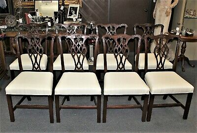 $2100 • Buy Set Of 8 KINDEL Mahogany Chippendale Style Upholstered Dining Room Chairs