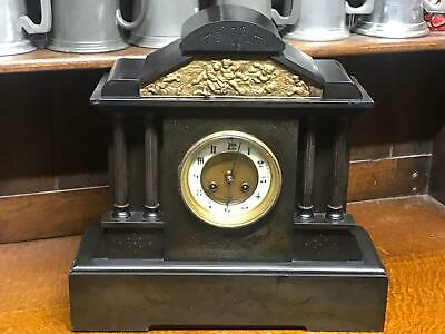 Antique A. MEARS & Co Slate Marble French Movement Mantel Clock [6687 ] • 135£