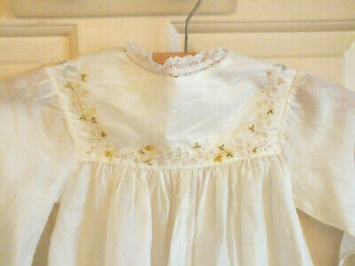 Antique Christening Gown Dress  Lace Embroidered  Silk Doll Baby Vintage  • 19.99£