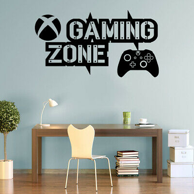 Gaming Zone Wall Stickers Xbox One Controller Gamer Vinyl Decals Kids Bedroom • 7.50£