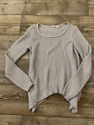 $ CDN31.84 • Buy MOTH Anthropologie Size Medium Silver Knit Sweater Long Sleeve Cotton Blend