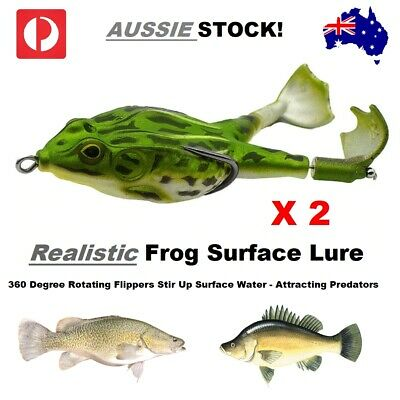 AU19.95 • Buy Fishing Lures Pack Of 2 Surface Freshwater Frog Lure Bait Cod Yellowbelly Perch