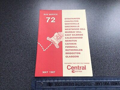£5 • Buy Central Scottish Bus Group Service 72 East Kilbride Bus Timetable May 1987