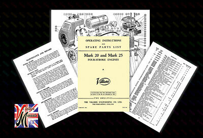 VILLIERS Mark 20 & 25 4 Stroke Engine Operating Instructions & Parts List - 1956 • 5.75£
