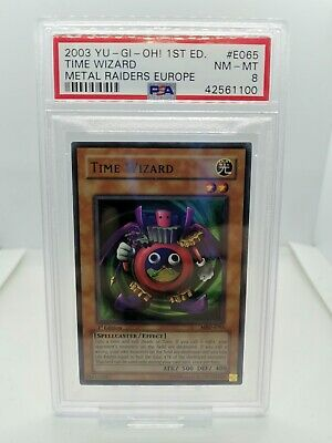 Yugioh - Time Wizard - 1st Ed - PSA 8 NM-MINT - MRD 065 - 2002 Metal Raiders • 395£
