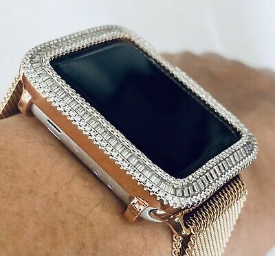 $ CDN50.07 • Buy Series 1,2,3 Apple Watch Bezel Bling Rose Gold Zirconia Face Case Cover 38/42 Mm
