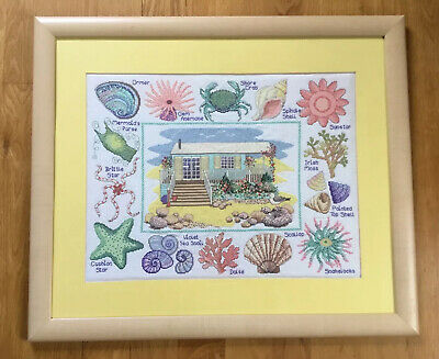 Handmade Finished Cross Stitch Seaside Picture Professionally Framed • 15£