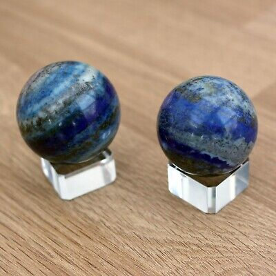 Lapis Lazuli Sphere On Glass Stand - Blue Healing Crystal Ball Polished Gift • 19£