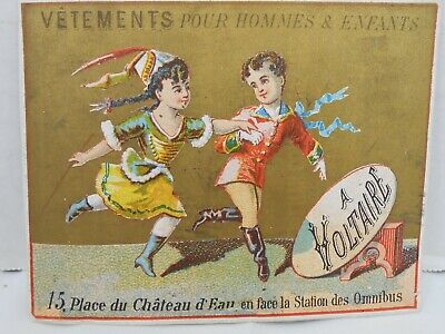 Vintage French Trade Card A Voltaire Boy Girl Dancing Costumes • 7.48£