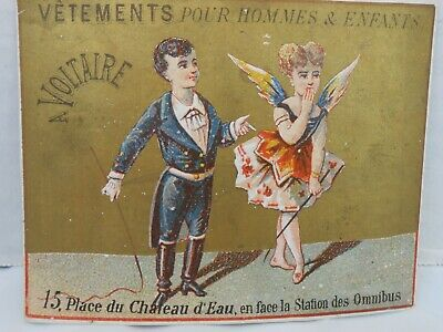 Vintage French Trade Card Boy Girl Costumes Wings Circus Performers • 7.48£