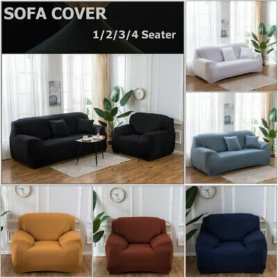 AU24.99 • Buy Plain Sofa Cover 1/2/3/4 Seat Couch Cover Seater Slip Couch Stretch Removeable