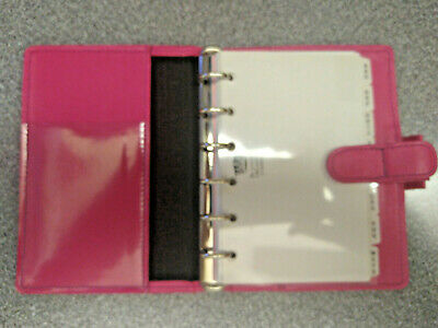 New Pink Soft Leather Filofax Pocket Mini Personal Diary Case Organiser 6 Holes • 15.99£