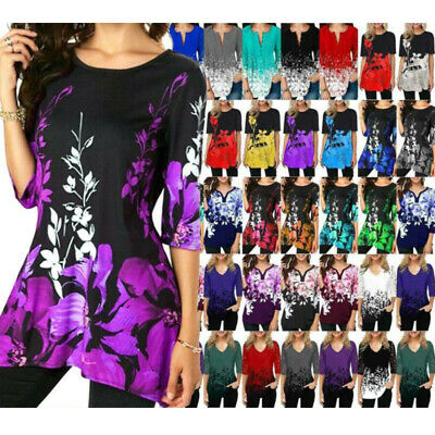 Plus Size Ladies 3/4 Sleeve Floral Printed Tunic Tops Loose Comfy T-Shirt Blouse • 9.29£
