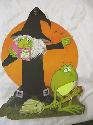 $ CDN16.52 • Buy Vintage Hallmark Die Cut Paper Halloween Witch With Toad Orvies Book Of Flying