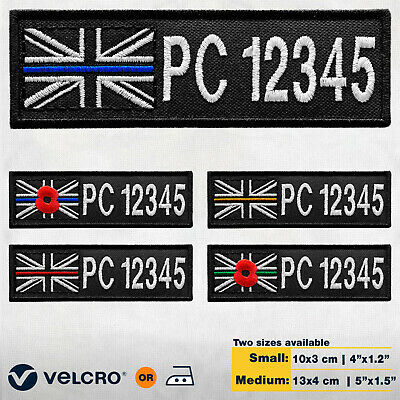 £9.99 • Buy Thin Blue Line UK Embroidered Patch Name Tag ID Number TEXT Remembrance Badge