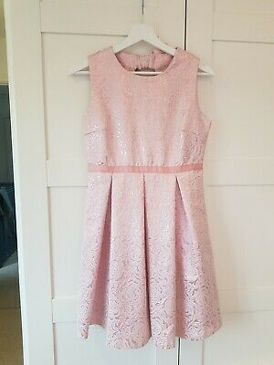 Yumi Girls Pink/Rose Gold Party Dress Age 13 • 10£