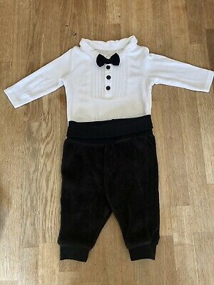 £6 • Buy Baby Boy Tuxedo Bow Tie Bodysuit Trousers Christmas Outfit Age 0-3 Months