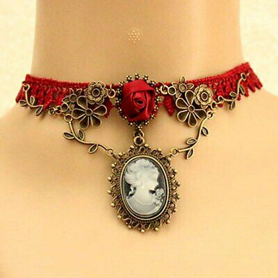 Cameo Charm Lace Necklace   -  Red Choker - New !! • 2.99£