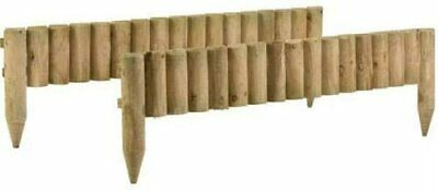 £34.99 • Buy 1M Log Roll Border Fixed Picket Fence Edge Garden Outdoor Lawn Edging