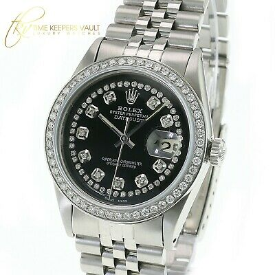 $ CDN5343.94 • Buy Rolex Mens Datejust Steel Black Diamond Dial Diamond  Bezel 36mm Jubilee Band