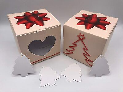 £8.49 • Buy 10cm Card Gift Box Beige Christmas Tree And Bow Heart Shaped Window X 25