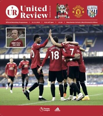 Manchester United V West Brom Bromwich Albion 21/11/20 Programme Nobby Tribute • 4.49£
