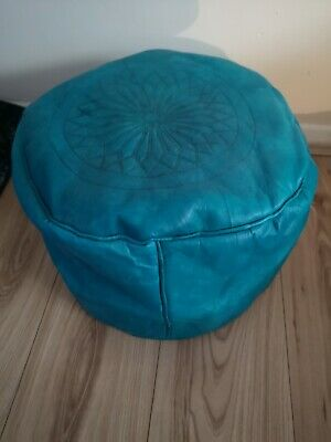 Turquoise Genuine Leather Pouffe Moroccan Handmade New Poufe Pouf Footstool  • 26.95£