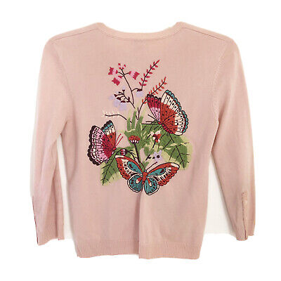 $ CDN28.80 • Buy Anthropologie Odille Pink Embroidered Cardigan Sz XS