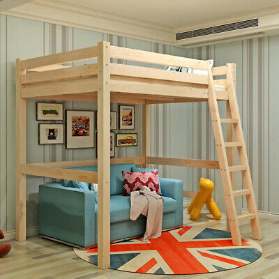 3FT Single Wood Loft Bunk Bed Solid Pine Kid Cabin Bed W/ Ladder High Sleeper UK • 175.95£
