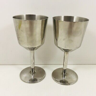 Pair Of Stainless Steel Goblets Lot 1  • 6.50£