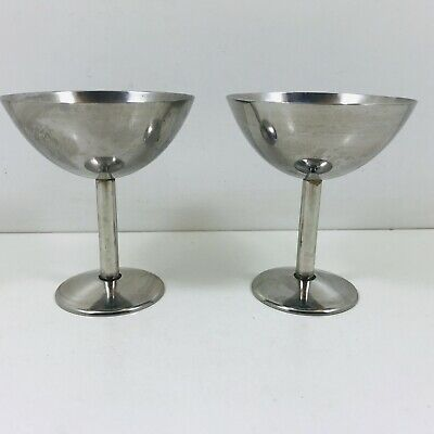 Pair Of Stainless Steel Champagne Goblets • 7.50£