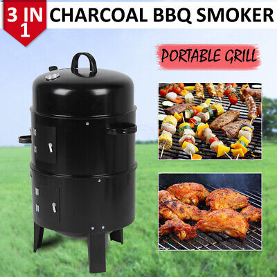 Smoker BBQ Charcoal Grill Portable Outdoor Barbecue Meat Food Cooking Drum Oven • 38.99£