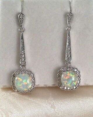 AU495 • Buy Vintage Jewellery Gold Earrings With Opals White Sapphires Antique Deco Jewelry