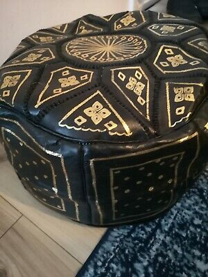 Moroccan Pouffe Genuine Leather Footstool Black Seating Ottoman Poufe Pouf New • 24.99£