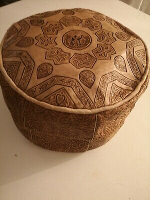 Small Genuine Leather Pouffe Moroccan Poufe Handmade New With Defects Footstool  • 19.99£
