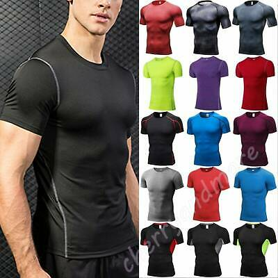 Men Short Sleeve T-Shirt Fitness Under Base Layer Compression Fitness Tops Size • 12.69£
