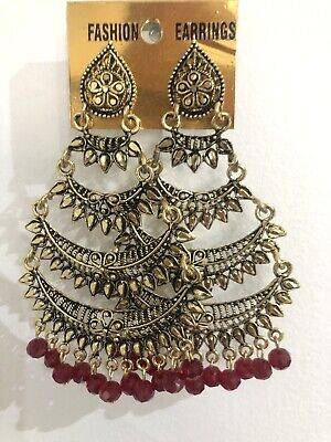 New Bollywood Costume Jewellery Earrings Set Antic Gold Plating Red Beads. • 5.98£