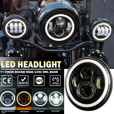 AU45.99 • Buy DOT 7 Inch Motorcycle LED Headlight Hi-Lo Beam Fits For Harley Street Glide FLD