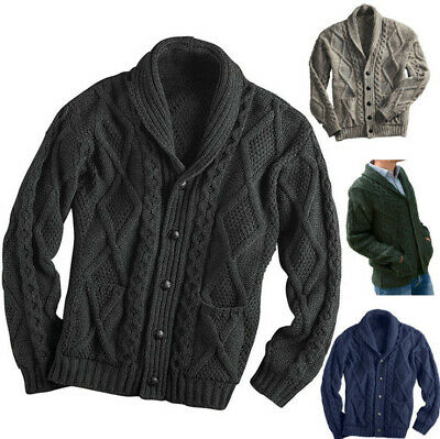 $39.80 • Buy Men's Button Down Shawl Collar Cardigan Sweater Cable Knit Knitwear With Pockets