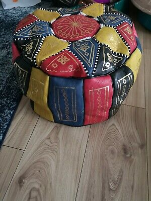 Moroccan Pouffe Genuine Leather Footstool Multicoloured Samba Poufe Pouf New • 19.95£