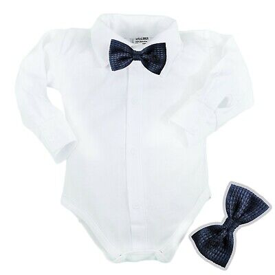 £9.25 • Buy Baby Boys Bodysuit Shirt NAVY BOW TIE  Outfit  Christening Christmas Weeding