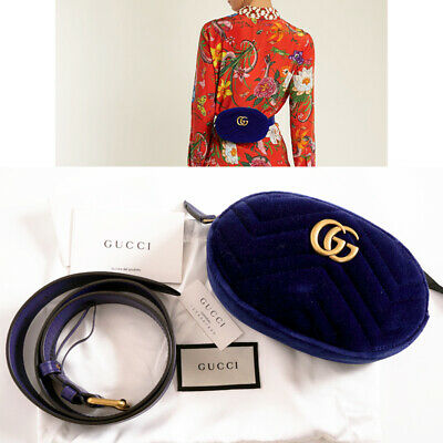 AU814.66 • Buy Sz 75/30 NEW $980 GUCCI Blue Velvet Matelassé GG MARMONT LOGO Small BELT BAG NWT