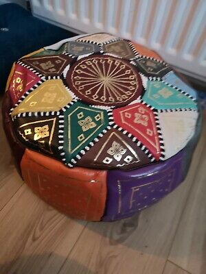 Moroccan Pouffe Genuine Leather Footstool Multicoloured Poufe Pouf New • 29.95£